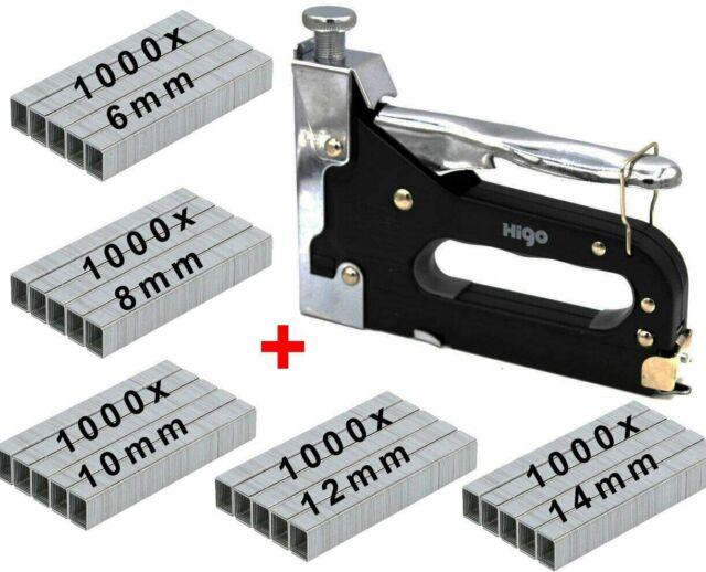 Handtacker Set mit je 1000 Stück Typ 53 6, 8, 10, 12 und 14mm Klammern