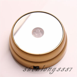 New-Round-3D-Crystal-Glass-Paperweights-3-LED-Light-Stand-Base-Display-Golden