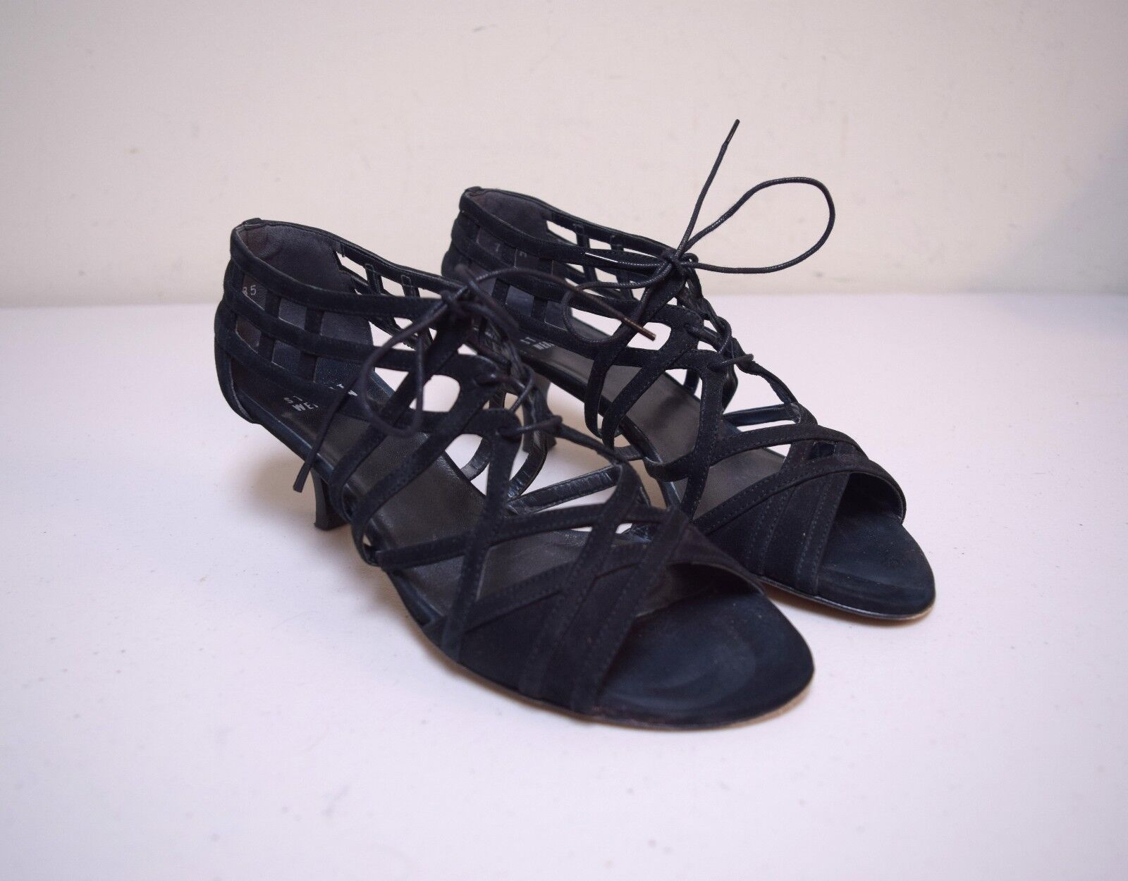 STUART WEITZMAN nero Nubuck Suede Cage Pumps Sandals Made in Spain Dimensione 7 M