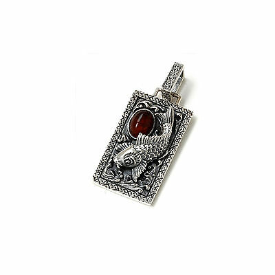 JAPANESE KOI WITH RED AMBER 925 STERLING SILVER ROCKER BIKER PENDANT gb-069