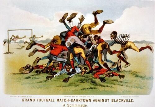 FOOTBALL MATCH DARKTOWN VS BLACKVILLE REPRODUCTION ART PRINT A1 A2 A3 A4