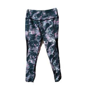 Lululemon Womens 2 Legging Black Gray Pink Camo Print Mesh Sides Ebay