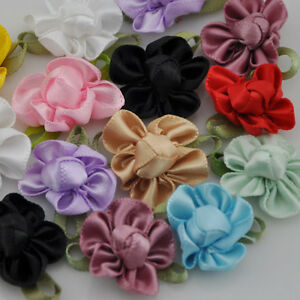 Lots UPick 200 40 20pcs Ribbon Flower Bows Appliques wedding DIY ... e0040bb5e547