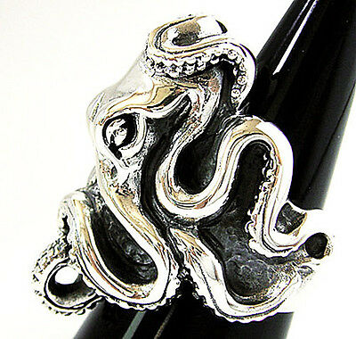 HUGE GIANT OCTOPUS SOLID 925 STERLING SILVER MENS BIG RING Sz 10