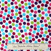 Robert Kaufman Flannel Fabric - Pink Green Blue Purple 1/2 Polka Dot /yd