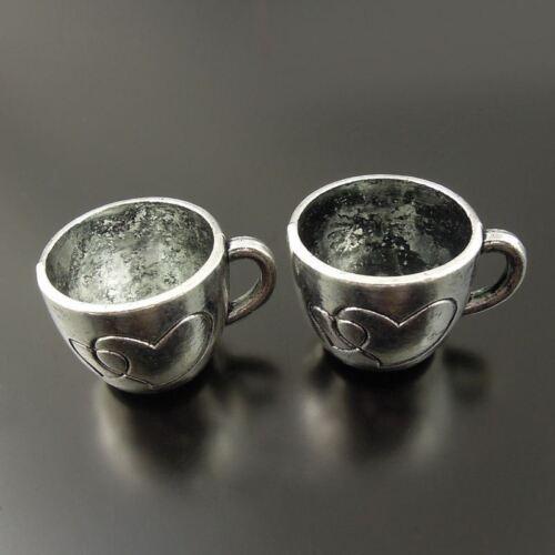 Vintage Style Silver Tone Love Mug Cup Pendant Charm Tableware 36374-020G 10pcs
