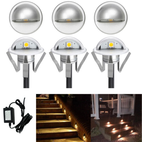 6 x 35mm Half Moon LED Deck Floor Plinth Lights Patio Stair Step Outdoor Lamp