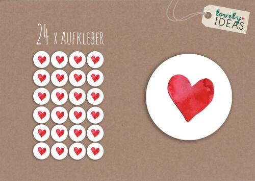 """24 x Geschenkaufkleber /""""Herz/"""" 40mm weiß Etiketten Aufkleber Sticker"""