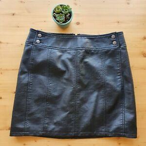 Free-People-Black-Textured-Faux-Vegan-Leather-Mini-Skirt-10-Fit-AU12-M-Lined