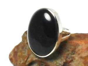 BLACK-ONYX-Sterling-Silver-925-Gemstone-RING-Size-M-Gift-Boxed