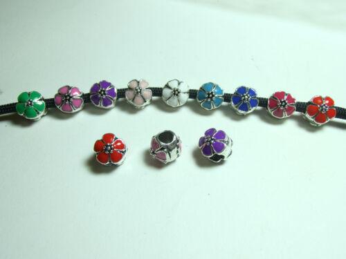 7//14 Emaillie Metallperle Blume Großloch Perlen Beads für Paracord