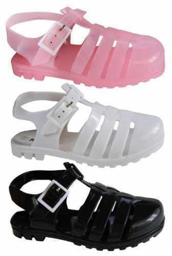 Girls Jelly Sandals Jellies Shoes Various Colours Sizes 4 Infant 2 UK PINK WHIT