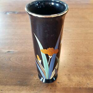 OTAGIRI-Vtg-Lotus-Floral-Pattern-Bud-Vase-Black-Gold-Trim-Made-in-Japan