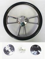 60-69 C10 C20 C30 Chevy Truck Carbon Fiber Billet Steering Wheel 14 Bowtie Cap