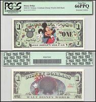 Disney (disneyland) $1 Dollar,aseries,2000,r-65,unc,celebrate Disney,pcgs 66 Ppq