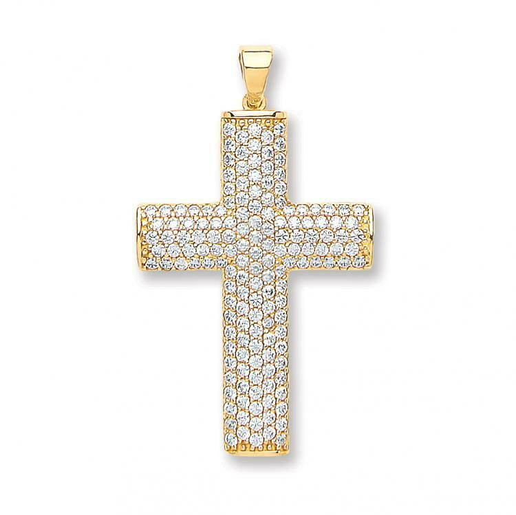 9ct Yellow gold Fully CZ Holy Cross 34mm Religious Christian Pendant Gift Boxed