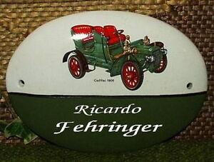 Gravierfeld Grün Cadillac 1906 2019 Mode Hda-0639 Keramik-türschild Unikat Um Jeden Preis