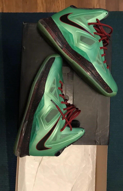 Nike Lebron X Cutting Jade, size 11 Green Red Supreme Bape