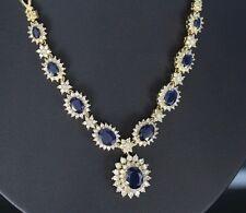 $12,500 BH EFFY Royalty 18K Yellow Gold Oval Blue Sapphire Diamond 16'' Necklace