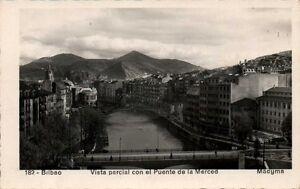PAIS-VASCO-BILBAO-VISTA-PARCIAL-CON-EL-PTE-DE-LA-MERCED-POSTAL-FOTGR-ANTIGUA