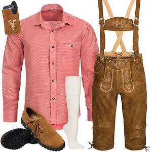 Trachten-Set-6tlg-Herren-Trachtenlederhose-mit-Traeger-Hemd-Schuhe-Socken-BR3R1