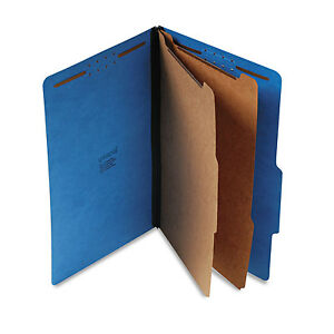 UNIVERSAL-Pressboard-Classification-Folders-Legal-Six-Section-Cobalt-Blue-10-Box