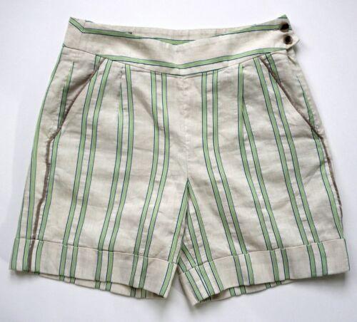FACONNABLE Beige Tan Green Striped Linen Blend Ber