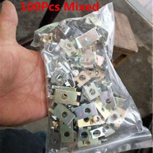 100 Pcs U-Type Mixed Metal Car Vehicle Door Panel Fender Screw Fastener Clips