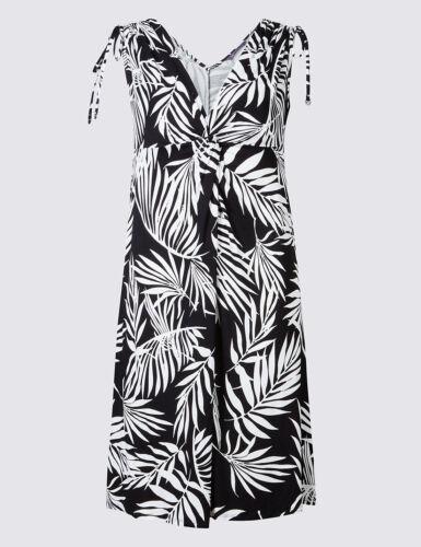 M /& S Colección Blanco y Negro de impresión de hoja de palmera Vestido de tirantes