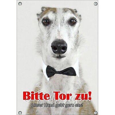 Angemessen Funschild Mit Windhund Mit Fliege - Lustiges Hundeschild -tor Zu Billigverkauf 50%