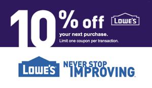 (3x) THREE Lowe's 10%OFF Coupons - IN-STORE ONLY Valid thru-End of month FAST