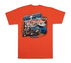 Blue Harley-Davidson T-Shirt Biker Short Sleeve Men Woman Tel-Aviv Israel