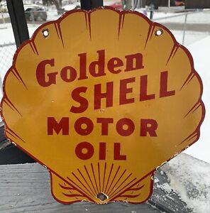 VINTAGE GOLDEN SHELL GASOLINE PORCELAIN GAS MOTOR OIL SERVICE PUMP PLATE SIGN AD