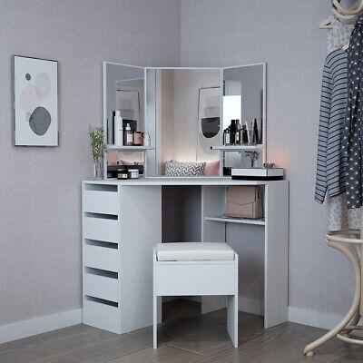 White Corner Dressing Table Set With Mirror Stool Make Up