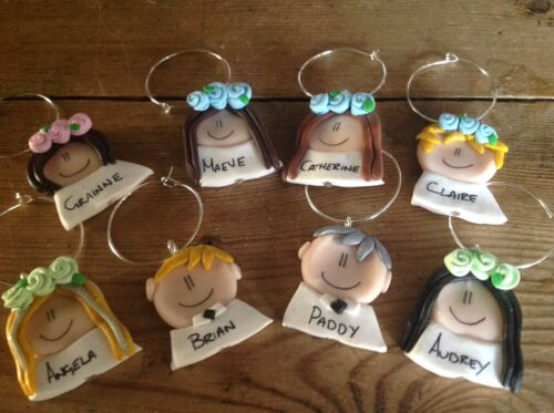 Details about  /Wine Glass Charms One Only Made To Order Wedding Hen Party BBQ Face Handmade
