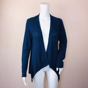 J-Jill-Small-Cardigan-Sweater-Blue-Open-Lightweight-Long-Sleeve-Linen-Cotton