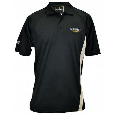 Guinness Performance Golf Polo Collared Shirt Black & Cream  *Pick Your Size*