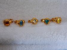 Lot of 5 - Girls - Gold Color Jeweled - Dress Up Princess - Rings