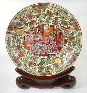Chinese-Famille-Rose-Hand-Painted-Enameled-Porcelain-Shallow-Bowl-with-Stand