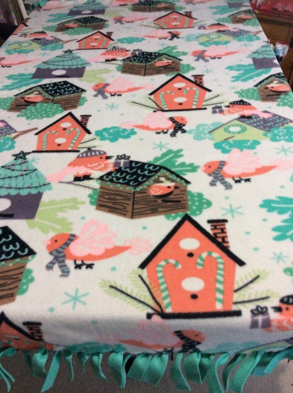 FLEECE KNOTTED BLANKET -Winter Bird House Blanket Throw