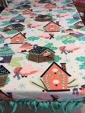 FLEECE KNOTTED BLANKET -Winter Bird House Blanket/Throw
