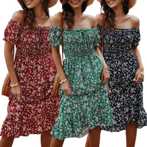 Women Boho Floral Off Shoulder Midi Dress Ladies Short Sleeve Holiday Sundress