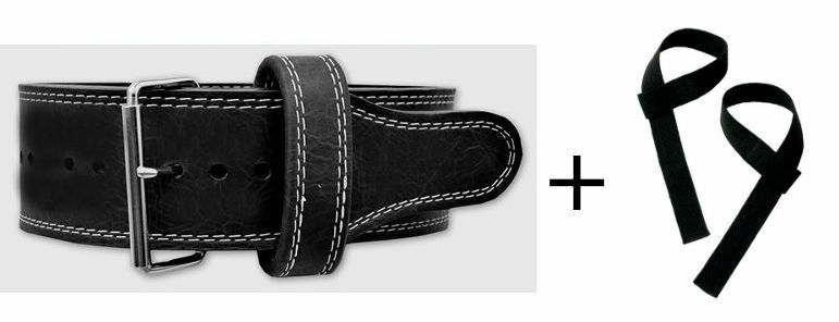 Powerlifting Classic Single Prong 10mm Power Belt (Medium) + Lifting Straps
