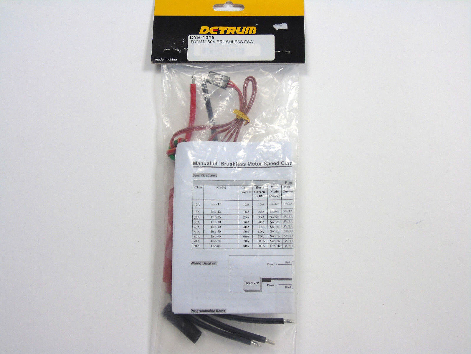 DYE-1015 Dynam Dctrum 60A senza Spazzola Esc 5-12 Nicd 2-6 Lipo Nuovo in Scatola