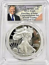 2017-S PROOF SILVER EAGLE PCGS PR70 FIRST DAY OF ISSUE TRUMP CONGRATULATIONS SET