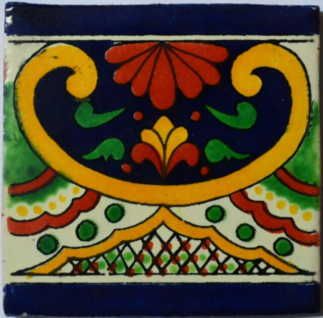 "90 Tiles 4x4"" Handmade Ceramic Tile Mexican Folk Art C332"