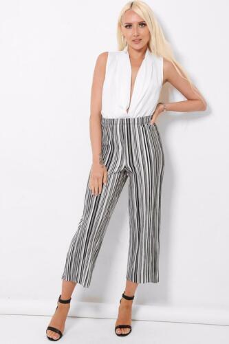 Stunning Crinkle Black White Stripe Flare Leg Crop Trousers Size 8-16