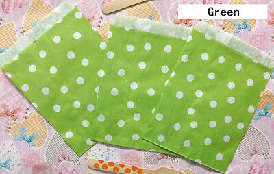25 PCS Green Polka Dot Biscuit Popcorn Fries Hamburger Food Oil Paper Bags