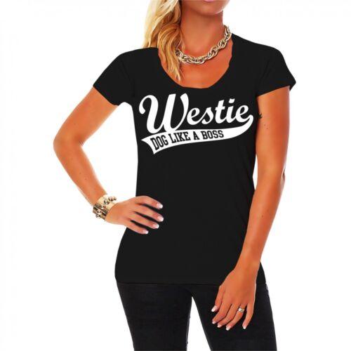 Frauen Damen T-Shirt Westie Hunderasse Zucht West Highland White Terrier Hund