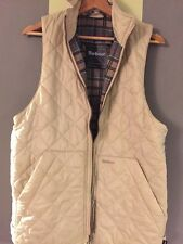 Barbour Women's Cream Quilted Gilet Waistcoat Vest Size Small